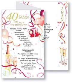 Simon Elvin 2020 40th Female Birthday Card - 1980 Was A Special Year - 40 Pink