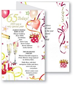 Simon Elvin 2020 65th Female Birthday Card - 1955 Was A Special Year - 65 Pink