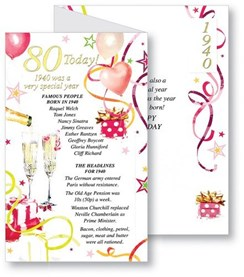 Simon Elvin 2020 80th Female Birthday Card - 1940 Was A Special Year - 80 Pink
