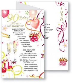 Simon Elvin 2020 90th Female Birthday Card - 1930 Was A Special Year - 90 Pink