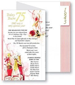 Simon Elvin 2020 75th Female Birthday Card - 1945 Was A Special Year - 75 Pink