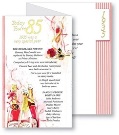 Simon Elvin 2020 85th Female Birthday Card - 1935 Was A Special Year - 85 Pink