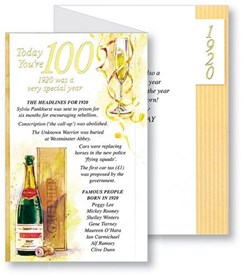 Simon Elvin 2020 100th Male Birthday Card - 1920 Was A Special Year - 100 Gold