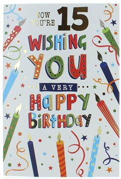 "Age 15 Boy Birthday Card - Multi Coloured Candles & Gold Foil   7.5"" x 5.25"""