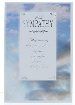 """Sympathy Greetings Card - Blue Sky with Clouds and Silver Foil 7.5""""x5.25"""""""