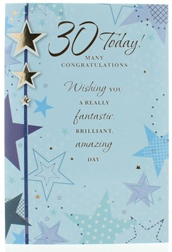 "Age 30 Male Birthday Card - Blue Stars With Silver Foil Writing 7.5"" x 5.25"""