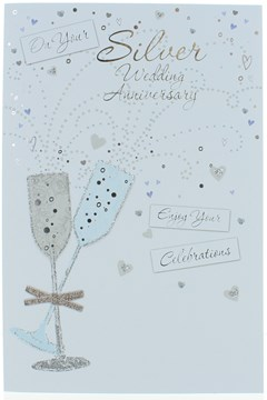 """Silver 25th Wedding Anniversary Card- Champagne Flutes With Glitter & Foil 9""""x6"""""""