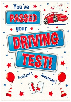 "Passed Your Driving Test Greetings Card - Red Car Balloons & Glitter 7.75""x5.25"""