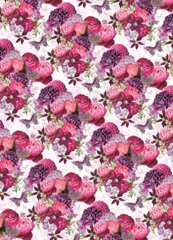 Female Pink Roses & Butterflies Wrapping Paper - 1 Sheet & Matching Gift Tag