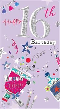 "Age 16 Girl Birthday Card - Big Silver Glitter 16 & Confetti Popper 9"" x 5"""