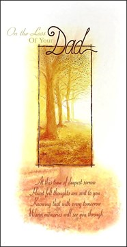 """Loss Of Your Dad Sympathy Greetings Card - Bright Orange Autumn Trees 9"""" x 4.75"""""""