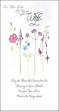 "Loss Of Your Wife Sympathy Greetings Card - Tall Bright Wild Flowers 9"" x 4.75"""