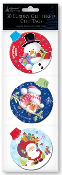 Pack Of 30 Luxury Glittered Christmas Gift Tags Metallic Thread - Cute Bauble's