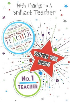 "Thank You Teacher Greetings Card - Bright Pencil, Spots & Big Star 7.5"" x 5.25"""