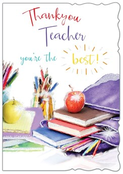 "Thank You Teacher Greetings Card - Purple Bag, Stationary & Apples 7.5"" x 5.25"""
