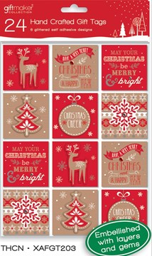 Pack Of 24 Modern Hand Crafted Christmas Peel & Stick Gift Tags - 6 Designs