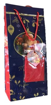 Pack of 12 Christmas Bottle Gift Bags with Rope Handle Tag - Traditional Santa