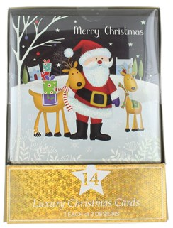 Pack of 14 Square Glitter Christmas Cards - Santa & Snowman at Night