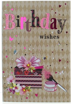 """Open Female Birthday Card - Flowers Make Up Brush Pink Foil Hearts 7.75""""x5.25"""""""