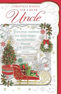 """Uncle Christmas Card -Sleigh with Gifts, Xmas Tree & Snowflakes with Foil 11x7"""""""