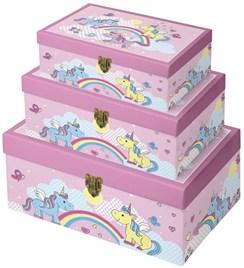 Set of 3 Unicorn Treasure Chest/Toy Storage Boxes
