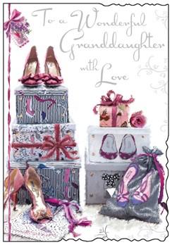 "Jonny Javelin Granddaughter Birthday Card - High Heel Shoes Silver Foil 9x6.25"""