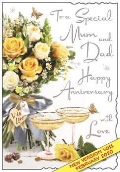 "Jonny Javelin Mum & Dad Wedding Anniversary Card - Yellow Flowers 9"" x 6.25"""