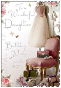 "Jonny Javelin Daughter Birthday Card - Pink Dress, Roses, Bag & Chair 9"" x 6.25"""