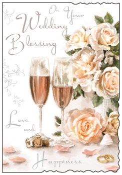 "Jonny Javelin Wedding Blessing Celebration Card Champagne Glasses Roses 9""x6.25"""
