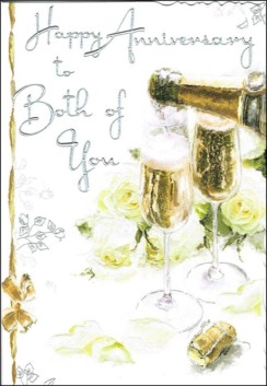 "Jonny Javelin Happy Anniversary Greetings Card - White Roses & Glasses 9 x 6.25"""