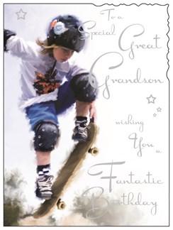 """Jonny Javelin Great Grandson Birthday Card - Boy On Skateboard 7.25"""" x 5.5"""""""