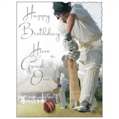 "Jonny Javelin Open Male Birthday Card - Men Playing Cricket Match 7.25"" x 5.5"""