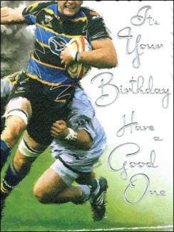 "Jonny Javelin Open Male Birthday Card - Big Men Playing Rugby Match 7.25"" x 5.5"""