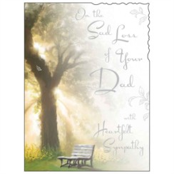 "Jonny Javelin Loss Of Dad Sympathy Greetings Card - Tree & Bench 7.25"" x 5.5"""