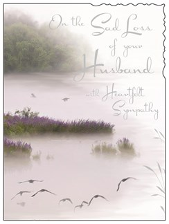 "Jonny Javelin Loss of Husband Sympathy Card - Lake and Birds 7.25"" x 5.5"""