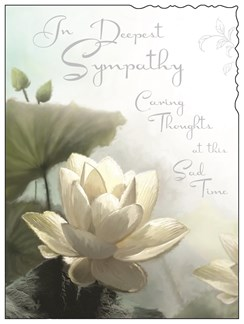 """Jonny Javelin In Sympathy Greetings Card - Water Lily and Silver Foil 7.5""""x5.25"""""""