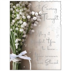 """Jonny Javelin A Caring Thought Greetings Card - White Flowers & Bow 7.25"""" x 5.5"""""""