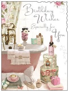 "Jonny Javelin Open Female Birthday Card - Girlie Bathroom 7.25"" x 5.5"""
