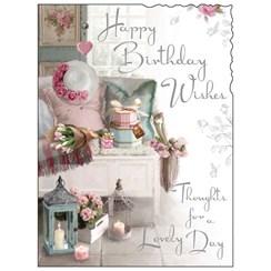 "Jonny Javelin Open Female Birthday Card - Window Seat Flowers Candles 7.25x5.5"""