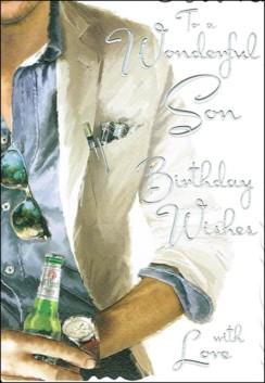 "Jonny Javelin Son Birthday Card - Man Holding Beer Bottle & Watch 9"" x 6.25"""