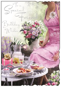 "Jonny Javelin Special Friend Birthday Card - Girl & Flowers At Table 9"" x 6.25"""