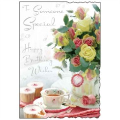"Jonny Javelin Someone Special Birthday Card - Bright Flowers & Teacup 9"" x 6.25"""