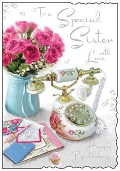 "Jonny Javelin Sister Birthday Card - Telephone and Flowers Silver Foil 9x6.25"""