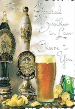 "Jonny Javelin Brother-in-Law Birthday Card - Pint Of Bitter & Crisps 9"" x 6.25"""