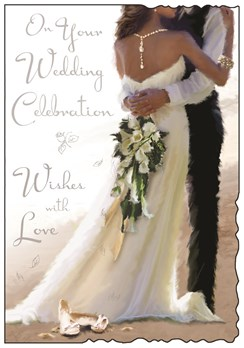 "Jonny Javelin Wedding Day Card - Bride & Groom on Beach 9"" x 6.25"""