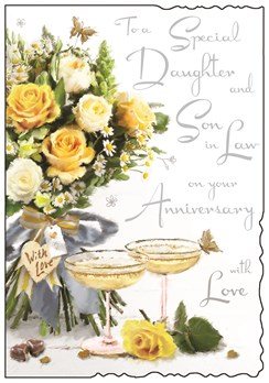 Jonny Javelin Daughter & Son-in-Law Anniversary Card - Roses & Glasses 9 x 6.25""