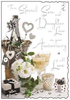 Jonny Javelin Son & Daughter-in-Law Anniversary Card - Champagne & Roses 9x6.25""