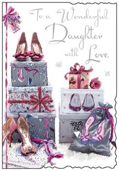 "Jonny Javelin Daughter Birthday Card - High Heels, Gifts Boxes & Rose 9"" x 6.25"""