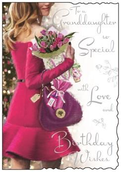 "Jonny Javelin Granddaughter Birthday Card - Lady Pink Dress & Flowers 9"" x 6.25"""