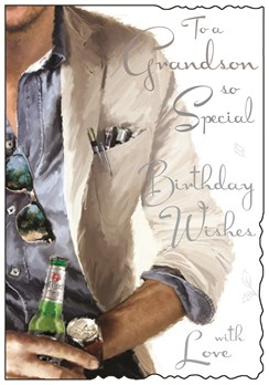 Jonny Javelin Grandson Birthday Card - Man with Beer Silver Foiled Text 9x6.25""